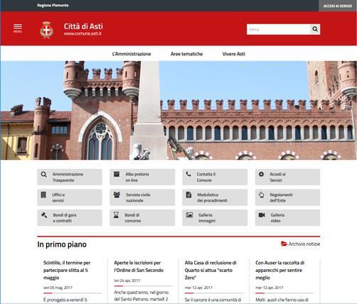 Nuovo Portale istituzionale del Comun di Asti, conforme alla nuove Linee Guida di design dei siti web della PA