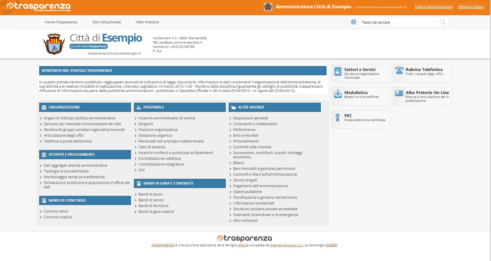 Amministrazione - Utente Redattore loggato sul Portale della Trasparenza