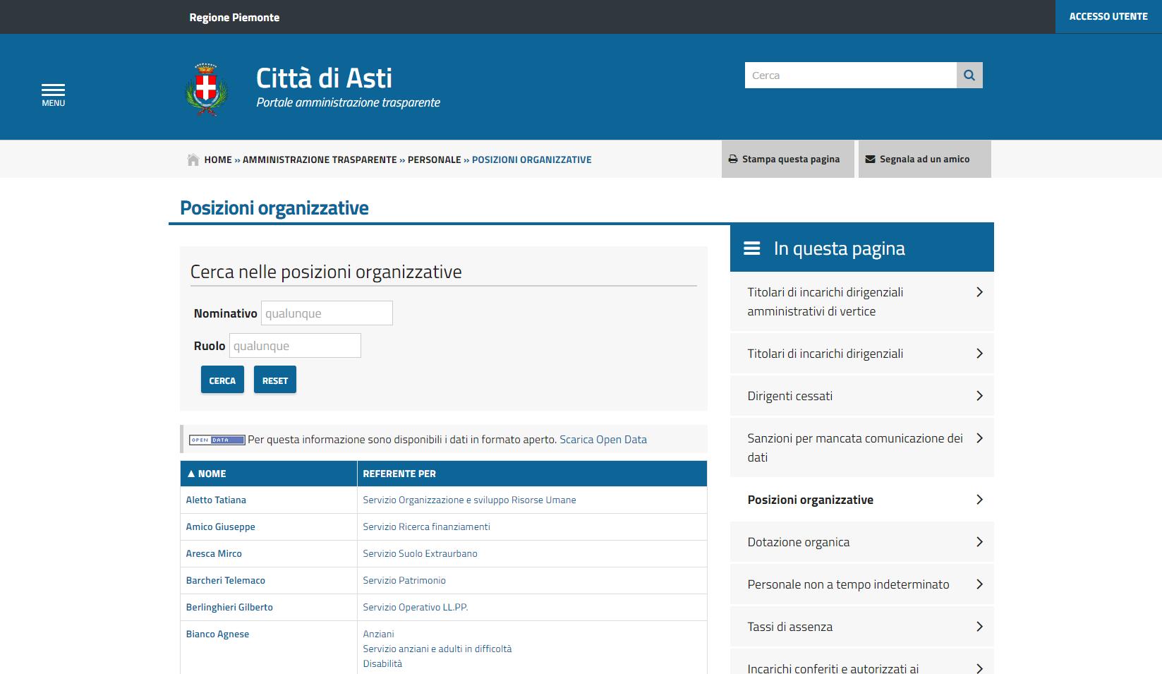 Personale - Posizioni Organizzative con ricerca e Open Data